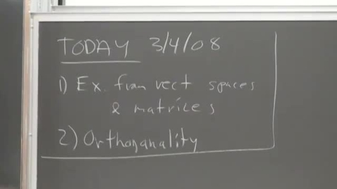 Thumbnail for entry 20 - An example from vector spaces and orthogonality Session 20