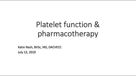 Thumbnail for entry Platelets: ACVECC Exam Webinar July 13, 2019