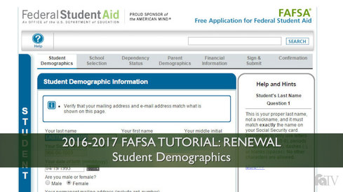 Student Demographics: 16-17 FAFSA Tutorial