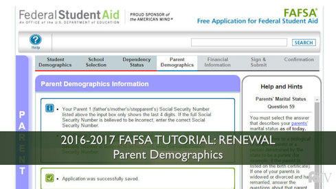 Parent Demographics: 16-17 FAFSA Tutorial