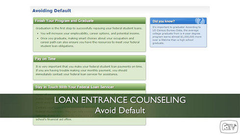 Loan Entrance Counseling - Avoid Default