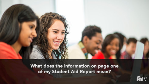 What does the information on page one of my Student Aid Report mean?