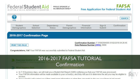 Confirmation: 16-17 FAFSA Tutorial