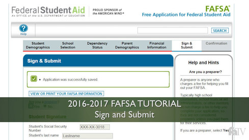 Sign and Submit: 16-17 FAFSA Tutorial