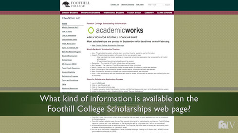 What kind of information is available on the Foothill College scholarship web page?