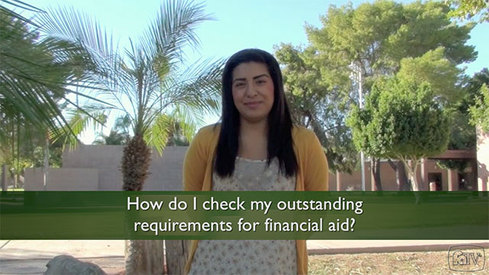 How do I check my outstanding requirements for financial aid?