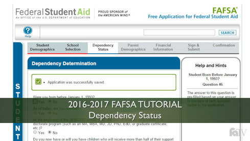 Dependency Status: 16-17 FAFSA Tutorial