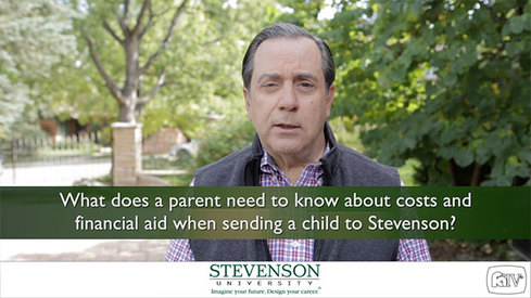 What does a parent need to know about costs and financial aid when sending a child to Stevenson University?