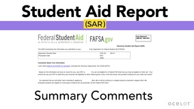 Thumbnail of Student Aid Report (SAR) - Summary Comments