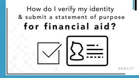 Thumbnail of How do I verify my identity and submit a statement of purpose for financial aid?