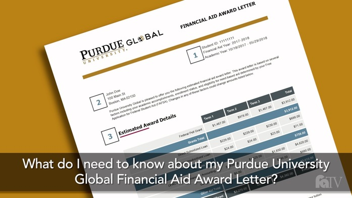 what do i need to know about my purdue university global financial aid award letter