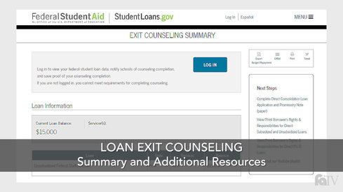 Loan Exit Counseling – Summary and Additional Resources