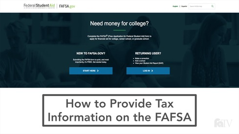 How to Provide Tax Information on the FAFSA