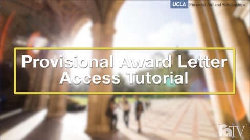 Provisional Award Letter Access Tutorial