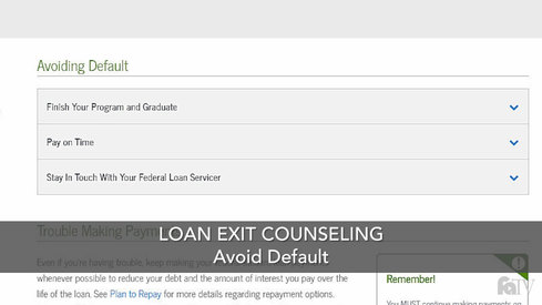 Loan Exit Counseling – Avoid Default