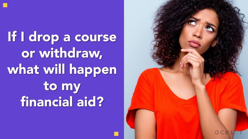Trending Video If I drop a course or withdraw, what will happen to my financial aid?