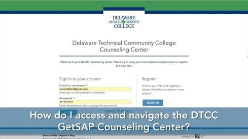 How do I access and Navigate the DTCC GetSAP Counseling Center?