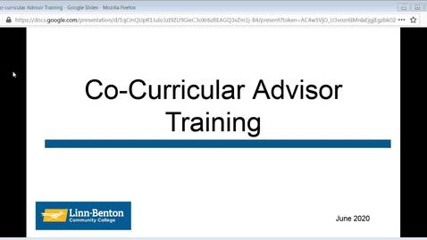 Thumbnail for entry Co-Curricular Advisor Training