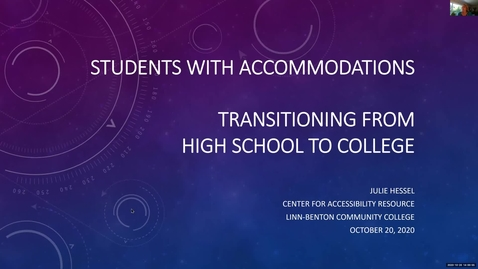 Thumbnail for entry Students with Accommodations; Transitioning  from High School to College 10-20-20