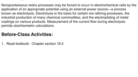 Thumbnail for entry 18.5: Nonspontaneous Redox Reactions-Electrolysis
