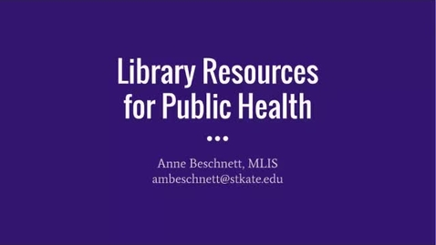 Thumbnail for entry Library Resources for Public Health - CC