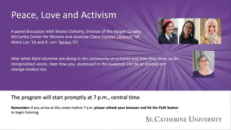 Thumbnail for entry Sharon Doherty - Peace Love and Activism- CC