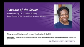 Thumbnail for entry Parable of the Sower- Tarshia Stanley PhD - CC