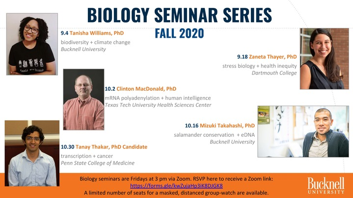 Thumbnail for channel Biology Seminar Series FALL 2020