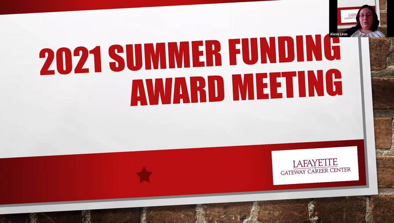 2021 Summer Funding Award Meeting