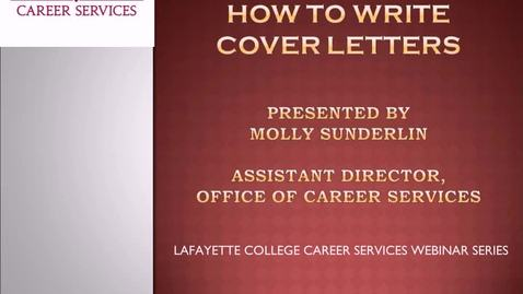 Thumbnail for entry How to Write Cover Letters