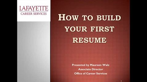 Thumbnail for entry How to Build your first resume