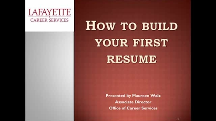 How to Build your first resume