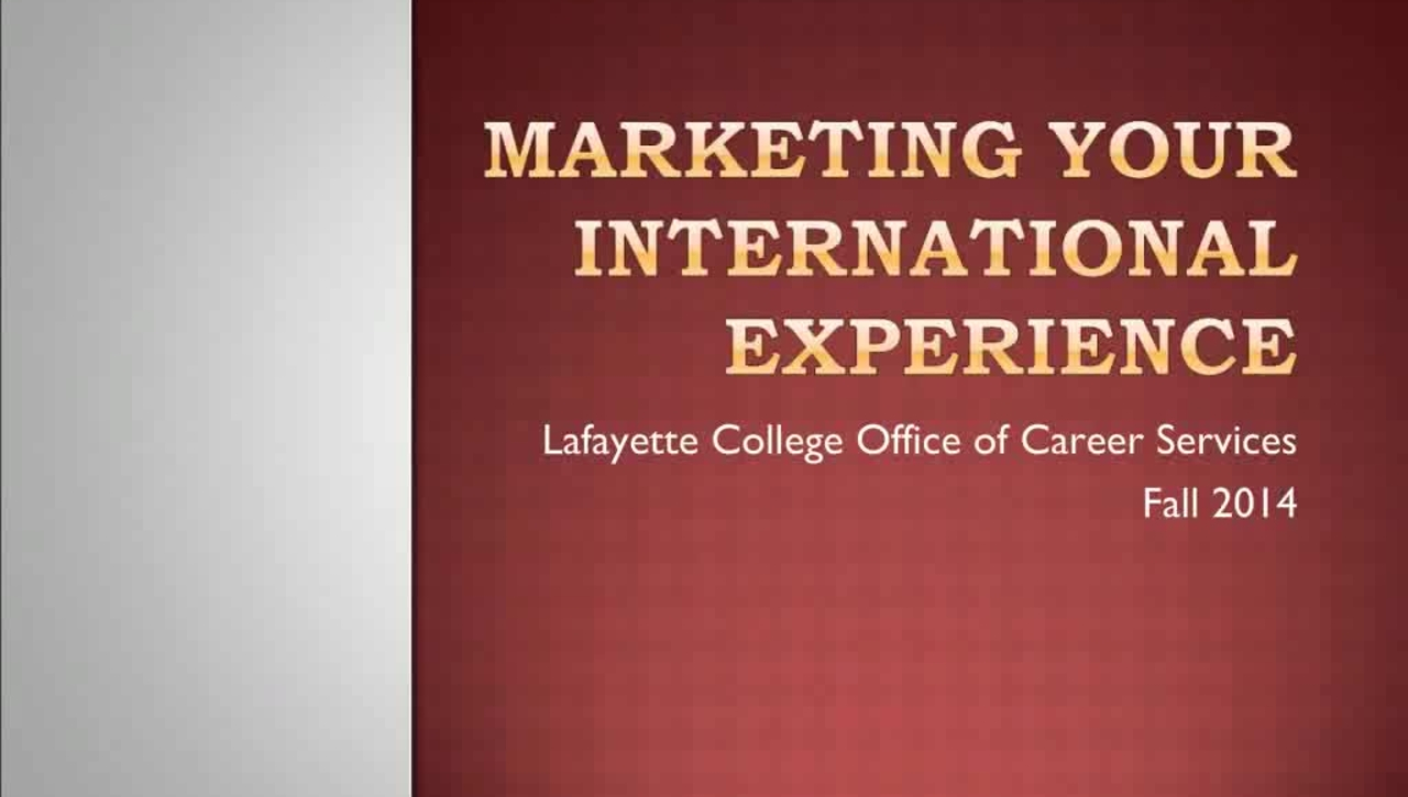 Marketing Your International Experience
