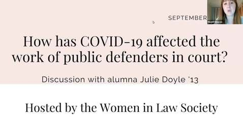 Thumbnail for entry Women in Law Society hosts Julie Doyle '13