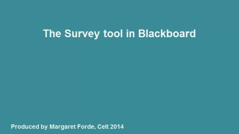 Thumbnail for entry Creating Survey in Blackboard