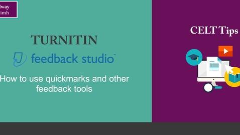 Thumbnail for entry Turnitin Feedback Studio