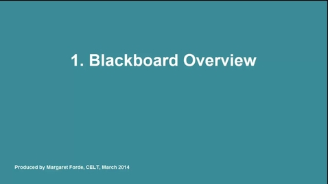 Thumbnail for entry Blackboard Overview