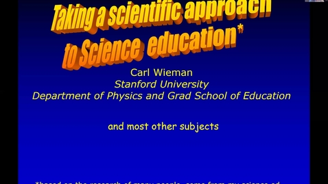 Thumbnail for entry Prof. Carl Wienman (Stanford University)