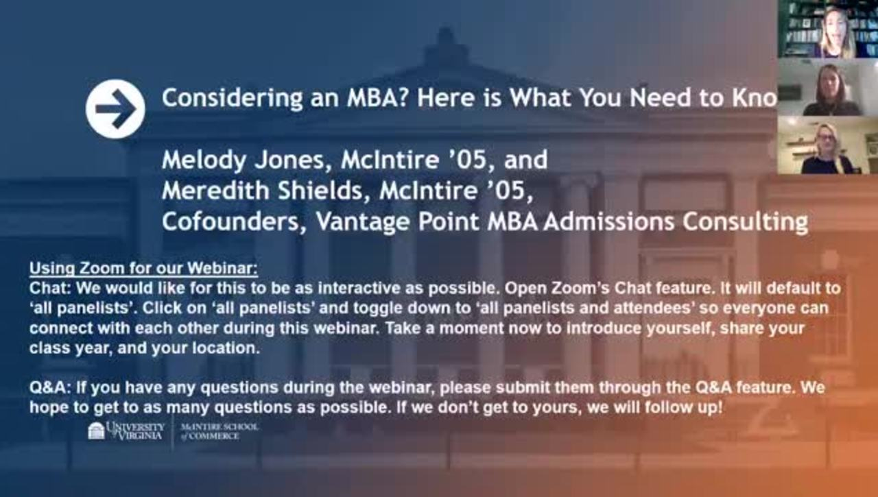 Considering an MBA? Here is What You Need to Know! with Melody Jones (McIntire '05) and Meredith Shields (McIntire '05)