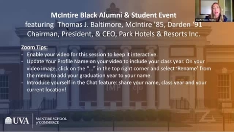 Thumbnail for entry A Conversation with Thomas J. Baltimore, Jr. (McIntire '85, Darden '91), Chairman, President, and CEO of Park Hotels & Resorts Inc.