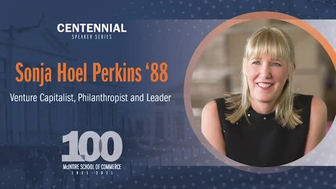 Thumbnail for entry McIntire Centennial Speaker Series: A Conversation with Sonja Hoel Perkins '88