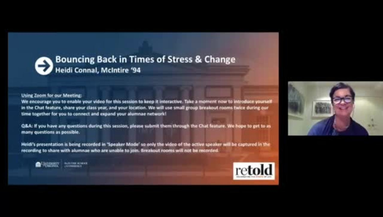 Bouncing Back in Times of Stress and Change featuring Heidi Connal (McIntire '94)