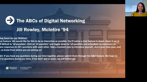 Thumbnail for entry The ABCs of Digital Networking Webinar with Jill Rowley (McIntire '94)