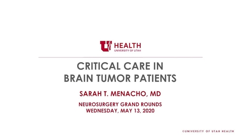 Thumbnail for entry Critical Care in Brain Tumor Patients