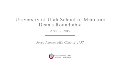 Thumbnail for entry Dean's Round Table Joyce JohnsonVideo_4-17-15
