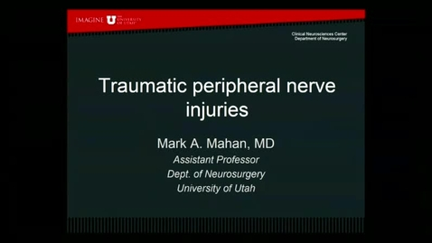 Thumbnail for entry 8/17/17 Traumatic Peripheral Nerve Injuries