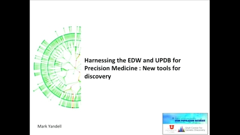 Thumbnail for entry Harnessing the EDW and UPDB for Precision Medicine: New tools for discovery