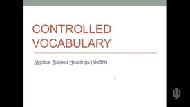 Thumbnail for entry Video 2 Controlled Vocabulary MeSH