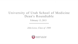Thumbnail for entry Dean's Round Table wit John Lowe