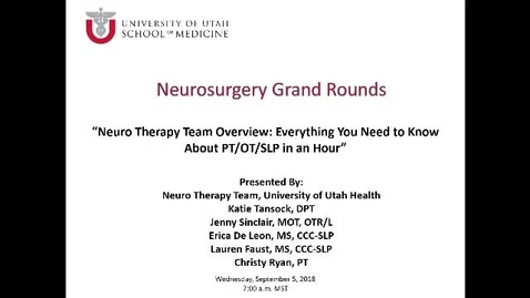 Thumbnail for entry Neuro Therapy Team Overview: Everything You Want to Know About PT/OT/SP in an Hour